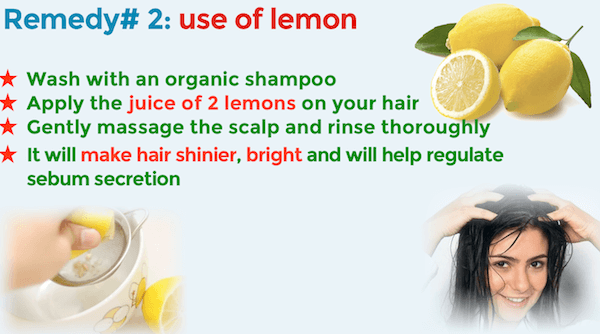 Remedy 2 to treat an oily scalp lemon juice